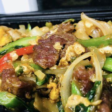 Spicy Beef Drunken Chow Fun Noodles
