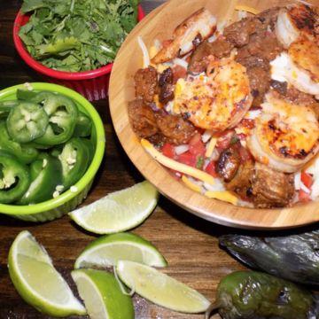 Surf & Turf (Steak & Shrimp) Burrito Bowl
