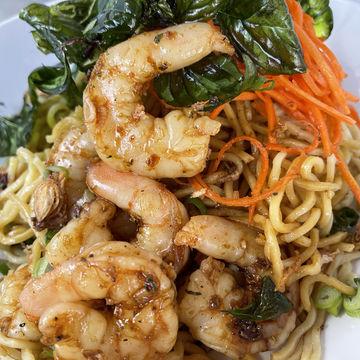 Kemangi Shrimp Garlic Noodles