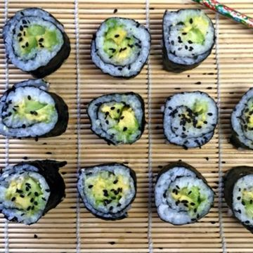 Avocado and cucumber sushi roll
